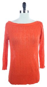 J.Crew Boatneck Sweater Cable Top Orange