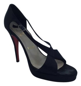Christian Louboutin Sandals Satin Evening Black Formal