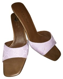 Gucci Lavender Low Heel Brown Comfortable Sandals