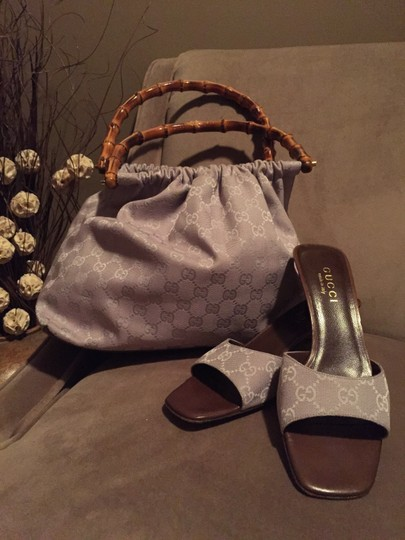 Gucci Lavender Low Heel Canvas Brown Comfortable Sandals
