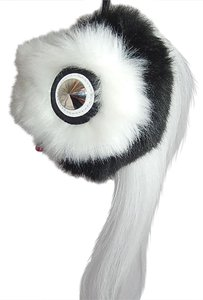 Fendi Fendi Monster Bird Fur Key Chain, Black/White