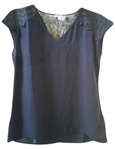 Banana Republic Lace Lace Trim Night Out Date Night Top Navy