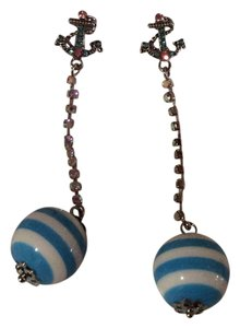 Betsey Johnson Betsey Johnson Pierced Anchor Earrings with Dangling Baby Blue Balls