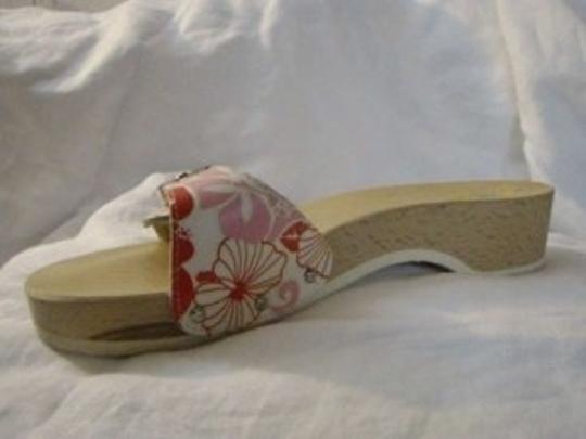 Dr. Scholl's Sandal Slide Floral Adjustable Strap Leather 9 M White, pink and raspberry Mules