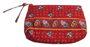 Vera Bradley Retired Vintage Vera Bradley Red Blue Yellow Flower Floral Makeup Bag Small 4x6