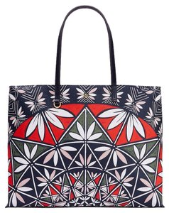 Tory Burch Summer Floral Tote in Navy blue red