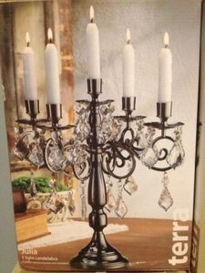 Terramina Metallic Black 6 Candelabra Chandeliers Centerpiece