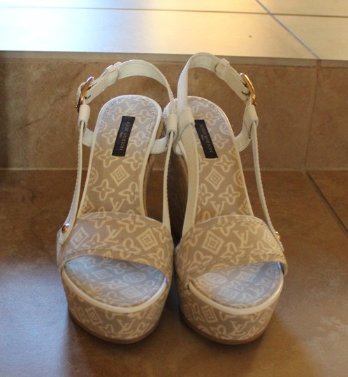 Louis Vuitton Lv Monogram Wedge Beige Multi-color Sandals