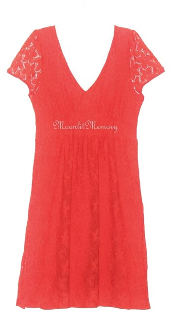Item - Orange L Leifnotes Lace V-neck Empire Mid-length Night Out Dress Size 12 (L)