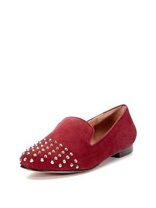 Steven by Steve Madden Sold Out Melter Wine Suede Loafer Studded Red Flats