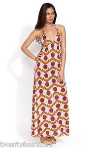 Multi-Color Maxi Dress by T-Bags Los Angeles Triangle Halter Maxi W Braided Straps Print