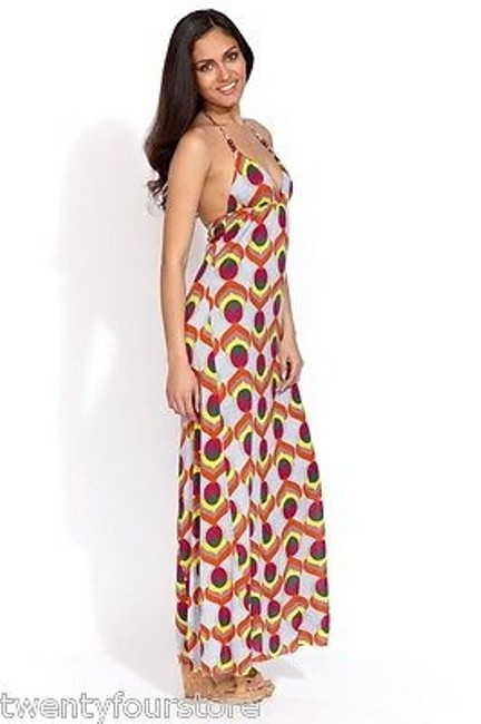 Multi-Color Maxi Dress by T-Bags Los Angeles Triangle Halter Maxi Braided Straps Print