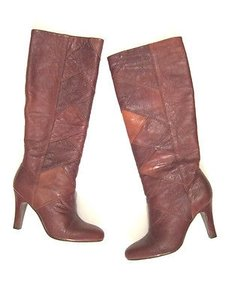 Frye Ava Tall Heel Patch Leather In Cognac Browns Boots