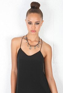 Wildfox Wildfox Couture Logo Charm Necklace In Hematite Eggshell