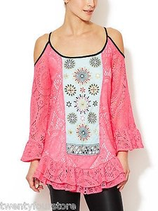 T-Bags Los Angeles T Bags Crocheted Contrast Top Pink