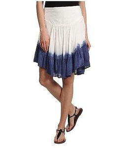 Free People People Dip Dye Asymmetrical Hem In Blue Skirt Ivory