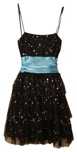 B. Darlin Prom Small Flowers Sequins Bow Homecoming Strapless Dress