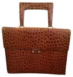 Chic de Paris Satchel in Brown Ostrich