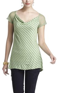 Anthropologie Green Striped Draped T Shirt