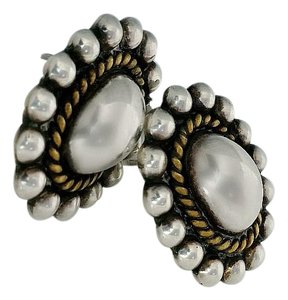 Other Silver and Gold Taxco Button Earrings