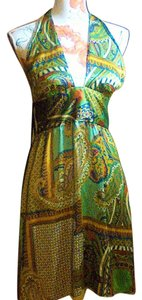 Paisley Multi color Maxi Dress by bebe Halter 100% Silk Summer Night Out