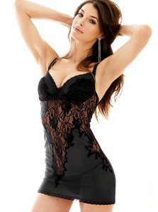 Frederick's of Hollywood Sexy Black Lace Chemise Lingerie