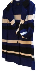 St. John Black, Royal Blue, White Stripe Blazer