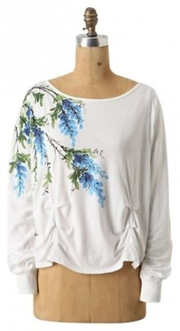 Anthropologie Ruched Floral T Shirt White