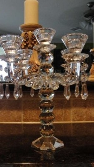Clear 2-mini Solid Crystal Candelabras Reception Decoration