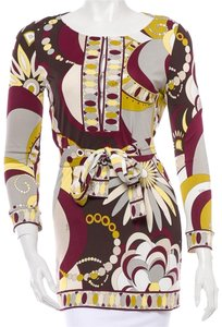 Emilio Pucci Rayon Tunic 3/4 Sleeve Top Multi-color