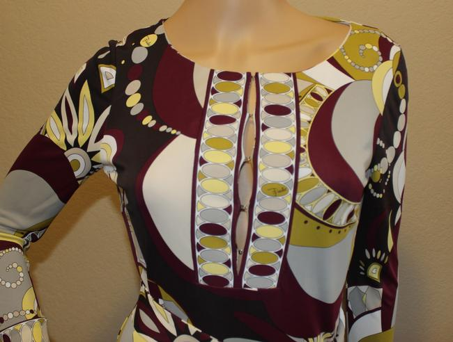 Emilio Pucci Rayon Tunic /4 Sleeve Belted Longsleeve Top Multi-color