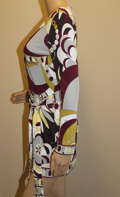 Emilio Pucci Rayon Tunic 3/4 Sleeve Belted Longsleeve Top Multi-color