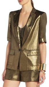 BCBGMAXAZRIA Day To Night Gold Metallic Blazer
