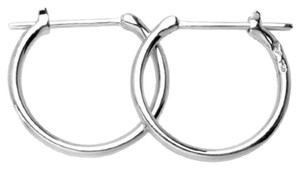 MBLife NEW 18K/750 WHITE COLOR GOLD GOLD EARRINGS - SIMPLE HOOPS