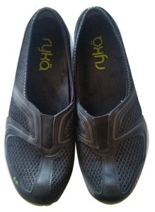 Ryka Slip In Charcoal Gray with lime green accents. Athletic