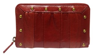 Other Dark Red Leather With Stud Zip Around Wallet