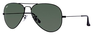 Ray-Ban NEW RAY-BAN AVIATOR SUNGLASSES BLACK RB3025 L2823 58-14 GREEN LENSES