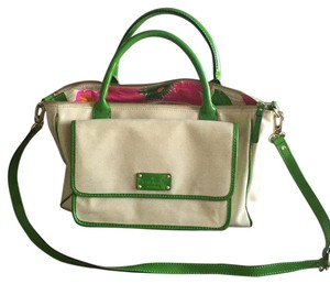 Kate Spade Satchel in Oatmeal/ Green