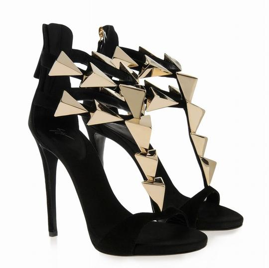 Giuseppe Zanotti Black And Gold Sandals
