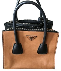 Prada Tote Calfskin Leather Satchel in Tan and Black