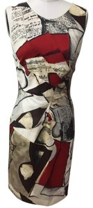 Oscar de la Renta Designer Pencil Print Cotton Dress