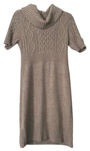 Ann Taylor LOFT Sweater Beige Cowl Neck Dress