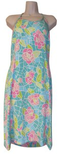 Lilly Pulitzer short dress teal and pink Halter on Tradesy
