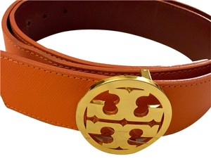 Tory Burch Tory Burch Leather Reversible Orange Coral Belt