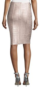 Herv Leger Pencil Bodycon Metallic Skirt rose gold