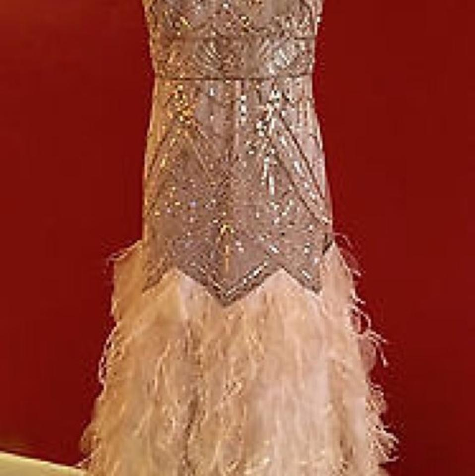 Sue Wong Champagne Chiffon Sequins Feathers Vintage Wedding Dress ...