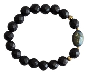 Marta's Designs Matte Hematite Cross Stretch Bracelet