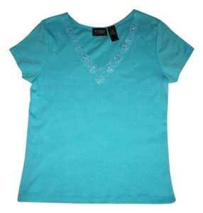 Liz Claiborne Lace Trim T Shirt blue