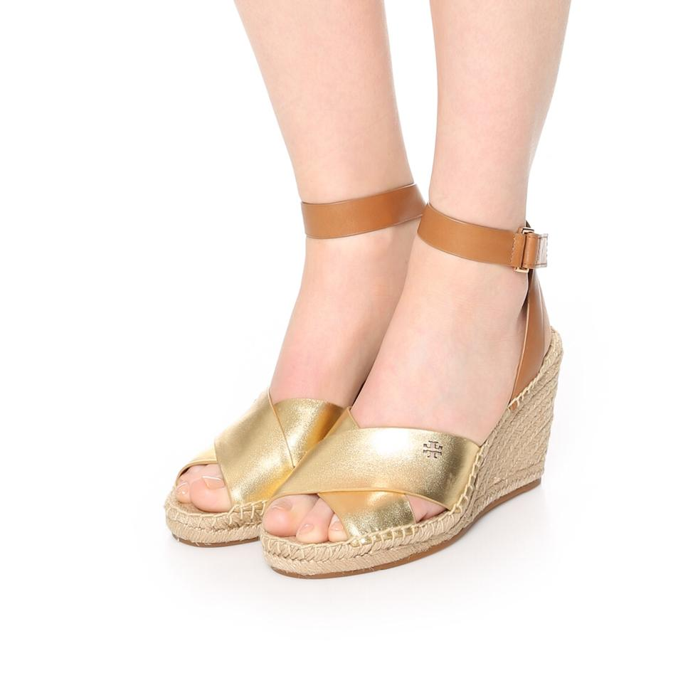 6a059afd71e Tory Burch Gold Royal Tan Bima Wedge Espadrille Sandals Size US 6 ...