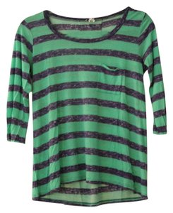 Splendid T Shirt Blue and Green Striped